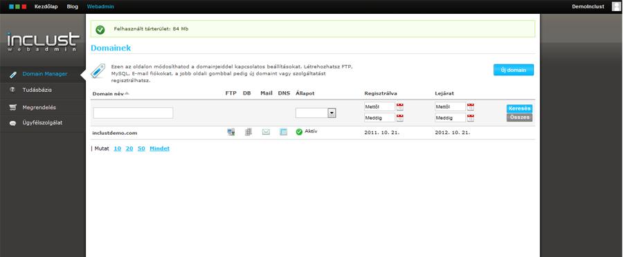 Webadmin Rendszer - Domain Hosting Panel