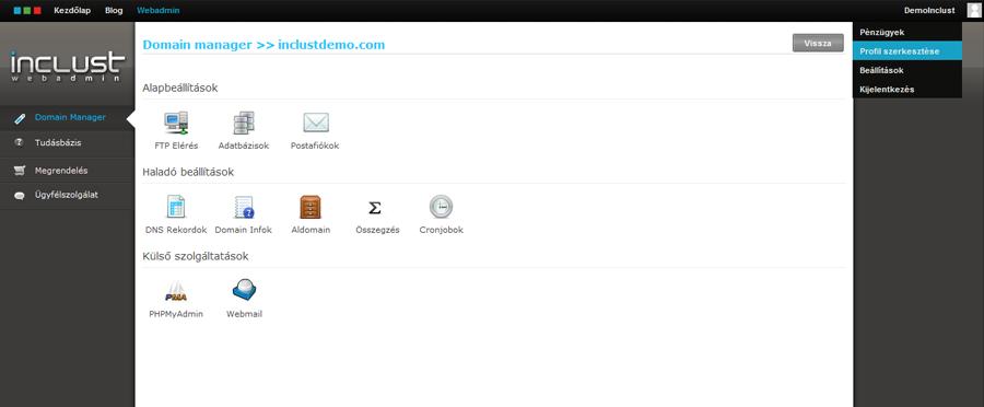 Webadmin Rendszer - Domainhez kapcsolódó szolgáltatások
