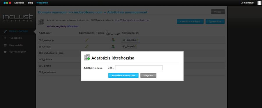 Webadmin Rendszer - Új adatbázisfelhasználó hozzáadása